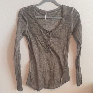 Free People Embroidered Henley Top